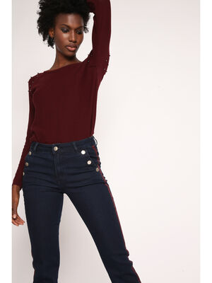 Pull manches longues avec perles prune femme