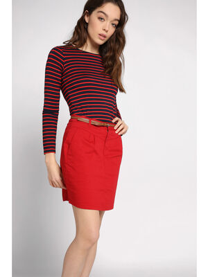 Jupe chino courte ceinture rouge fonce femme