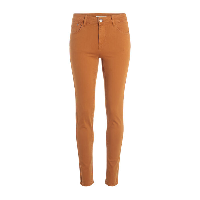 Jeans slim 5 poches camel femme