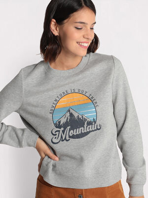 Sweat col rond gris clair femme
