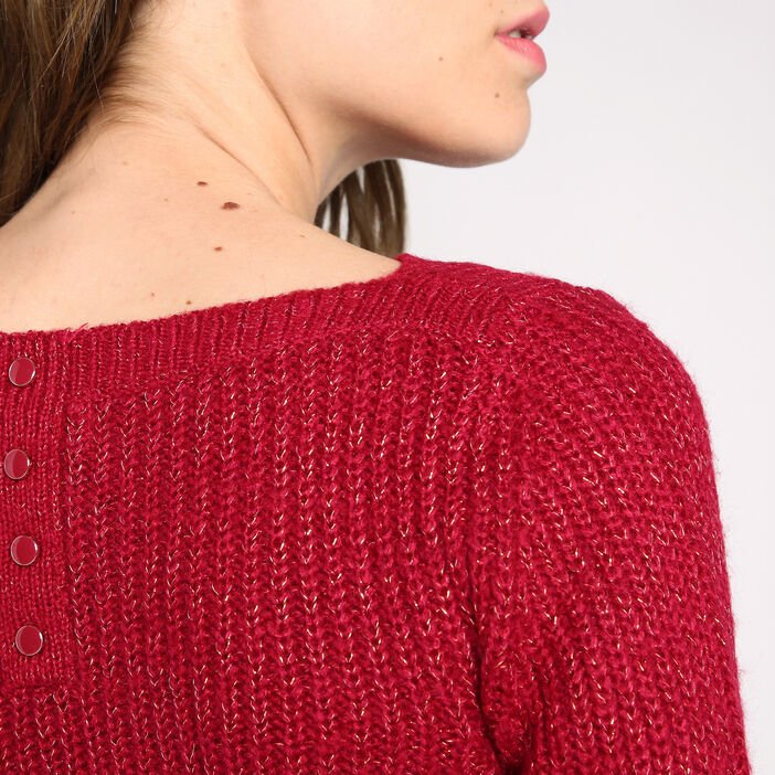 Pull manches longues boutons au dos rouge clair femme