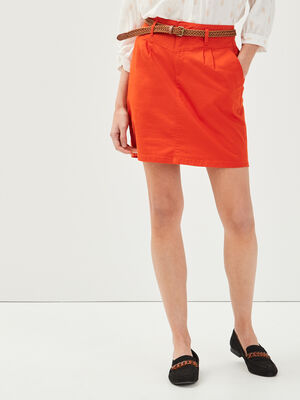 Jupe chino ceinturee orange femme