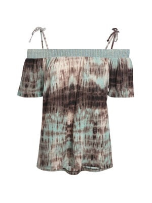 T shirt tie and dye detail lurex vert pastel femme