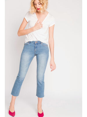 Jeans cropped  denim stone fem