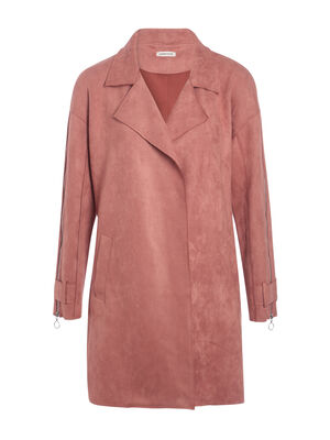 Trench droit manches zippees rose poudree femme
