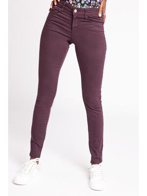 Jeans slim 5 poches rouge fonce femme