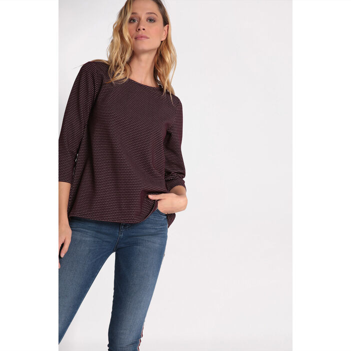 T-shirt manches 3/4 col rond prune femme