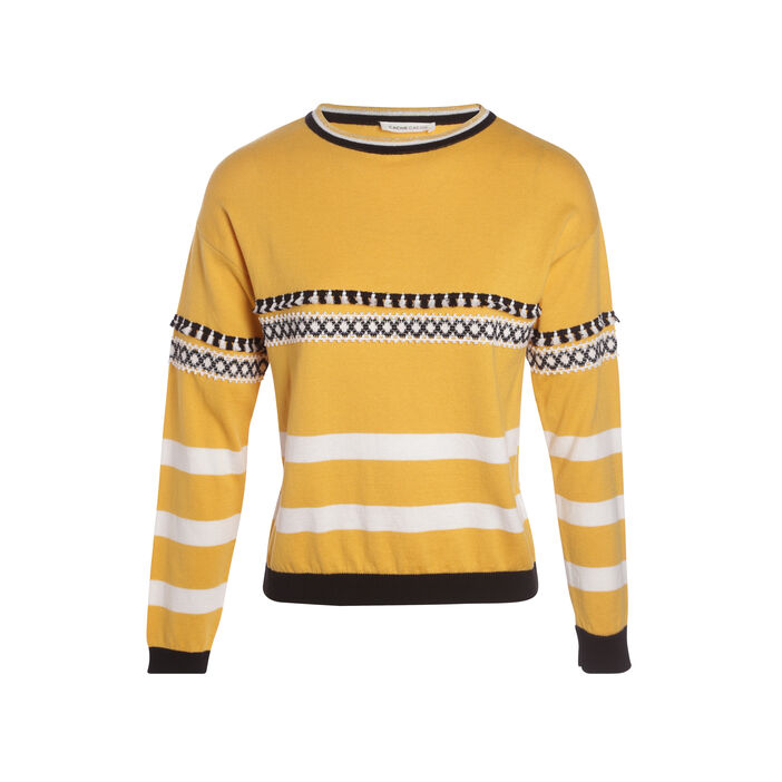 Pull manches longues pompons jaune femme
