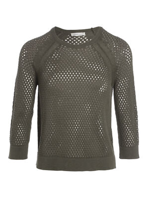 Pull manches 34 col rond vert fonce femme
