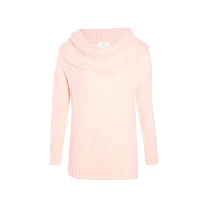 Pull col roulé maille douce rose clair femme