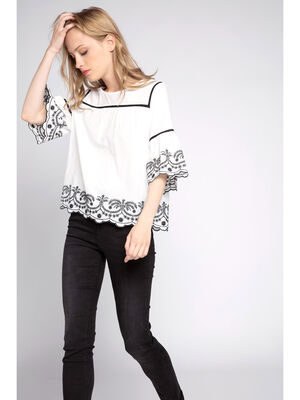 Blouse ample brodee blanc femme
