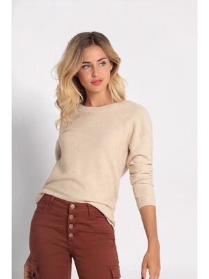 Pull manches longues dos zippe sable femme