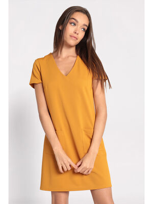 Robe droite noeud au dos jaune moutarde femme