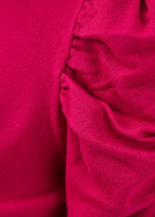 Pull manches courtes froncees rose cerise femme