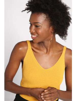 Debardeur maille tricot jaune or femme