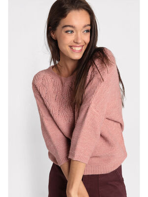 Pull manches 34 ajoure rose femme