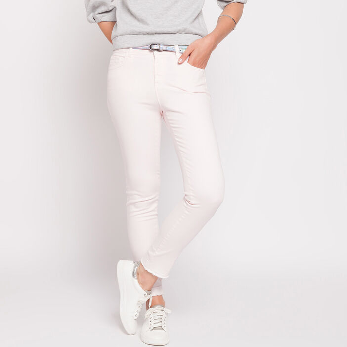 Pantalon skinny bords francs rose clair femme
