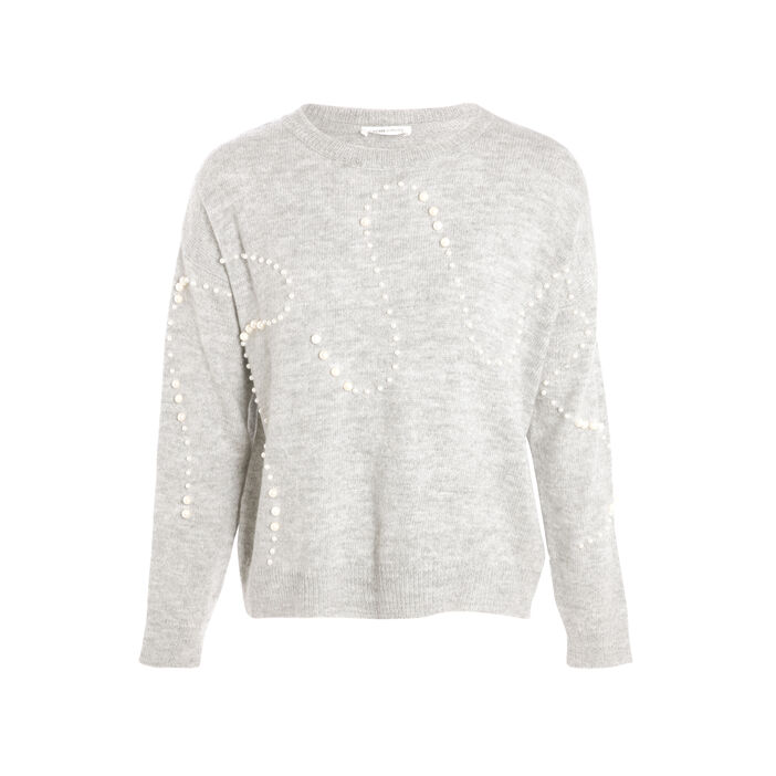 Pull manches longues perles gris clair femme
