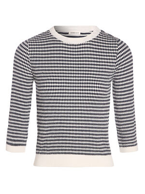 Pull manches 34 col rond bleu marine femme