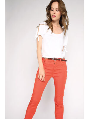 Pantalon slim uni orange femme