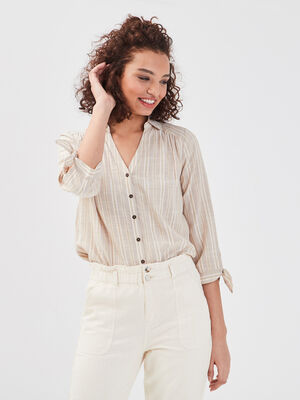 Chemise manches 34 beige femme