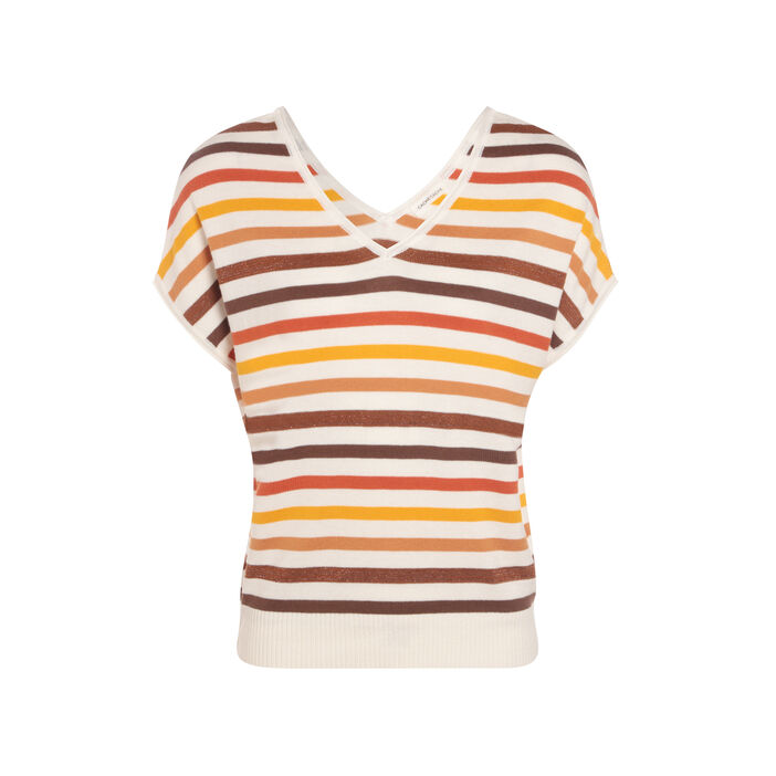 Pull manches courtes jaune moutarde femme