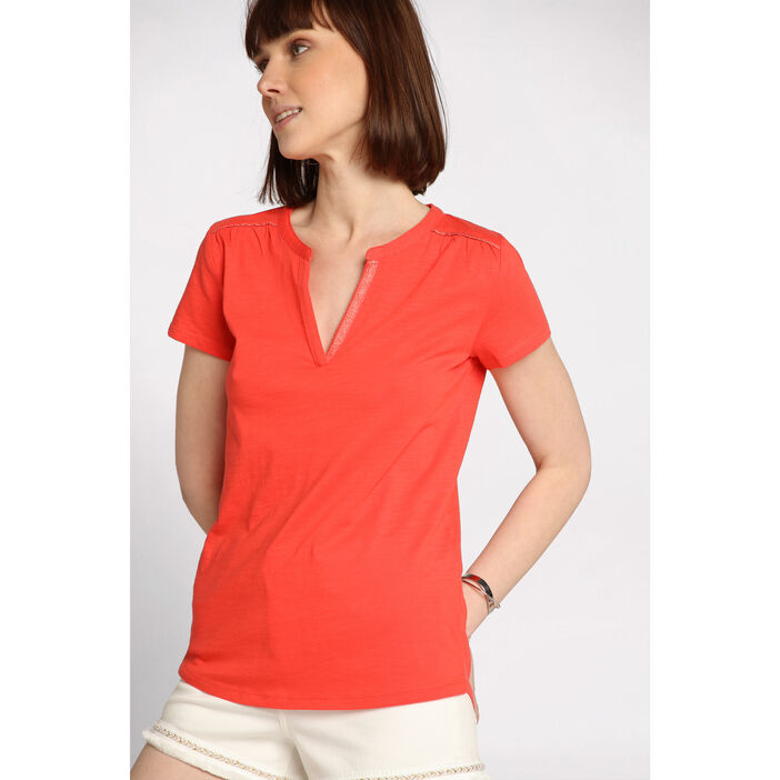 T-shirt col tunisien orange corail femme