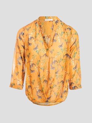Blouse manches 34 jaune moutarde femme