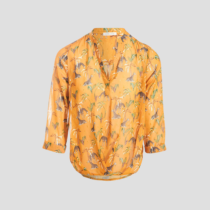 Blouse manches 3/4 jaune moutarde femme