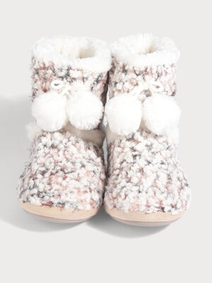 Chaussons bottines a pompons ecru femme