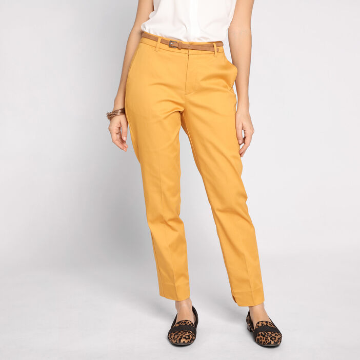 Pantalon city 7/8 4 poches jaune or femme