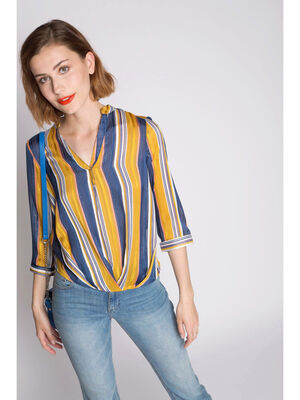 Blouse a rayures base drapee jaune or femme
