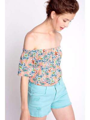 Top off shoulders imprime floral orange femme
