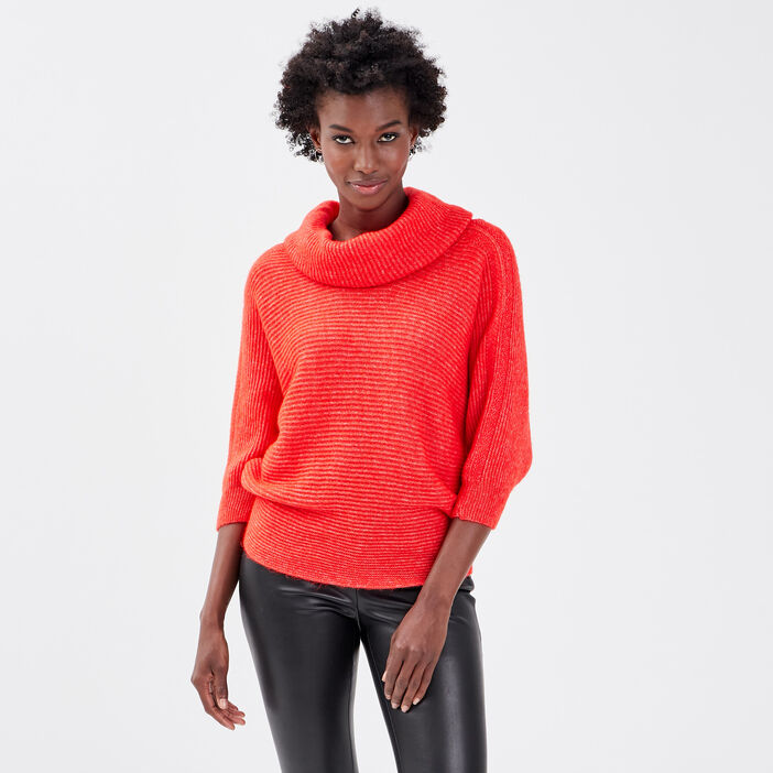 Pull long col châle rouge femme