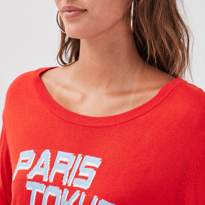 Pull col rond rouge femme