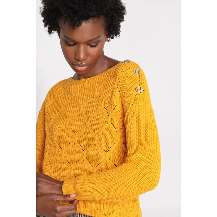 Pull manches longues à boutons jaune moutarde femme