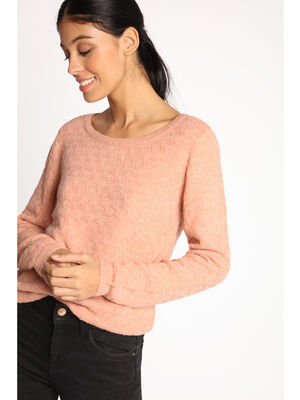 Pull fantaisie manches longues rose poudree femme