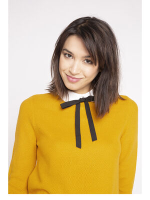 Pull col Claudine et lavalliere jaune moutarde femme