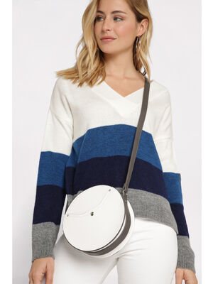 Sac rond a bandouliere blanc femme