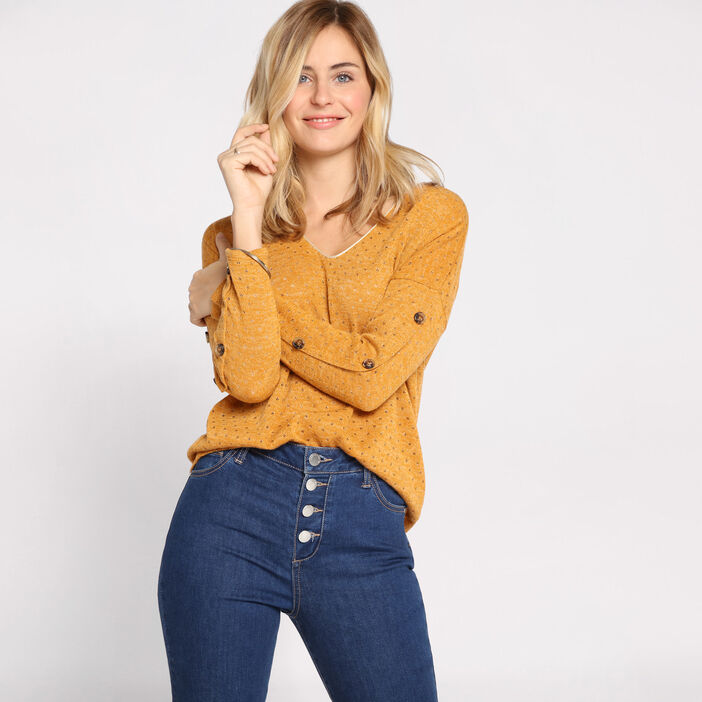 Pull manches longues boutons camel femme