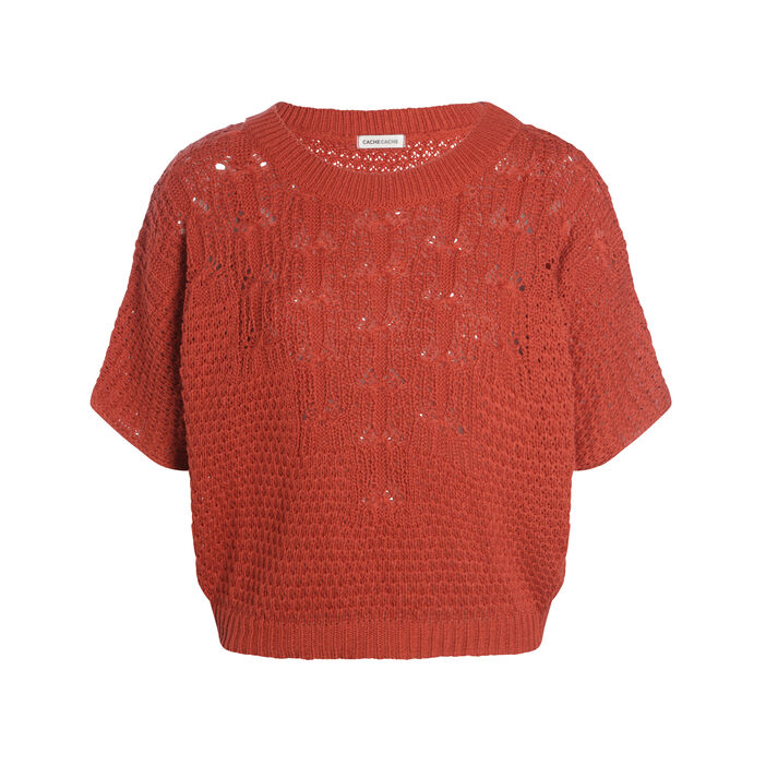 Pull manches courtes col rond rouge femme