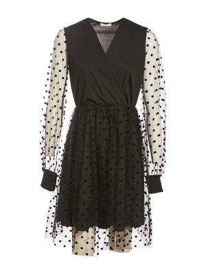 Robe evasee manches longues noir femme