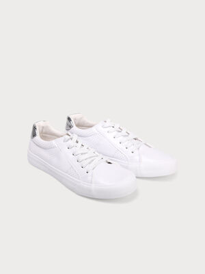 Baskets basses lacets satines blanc femme