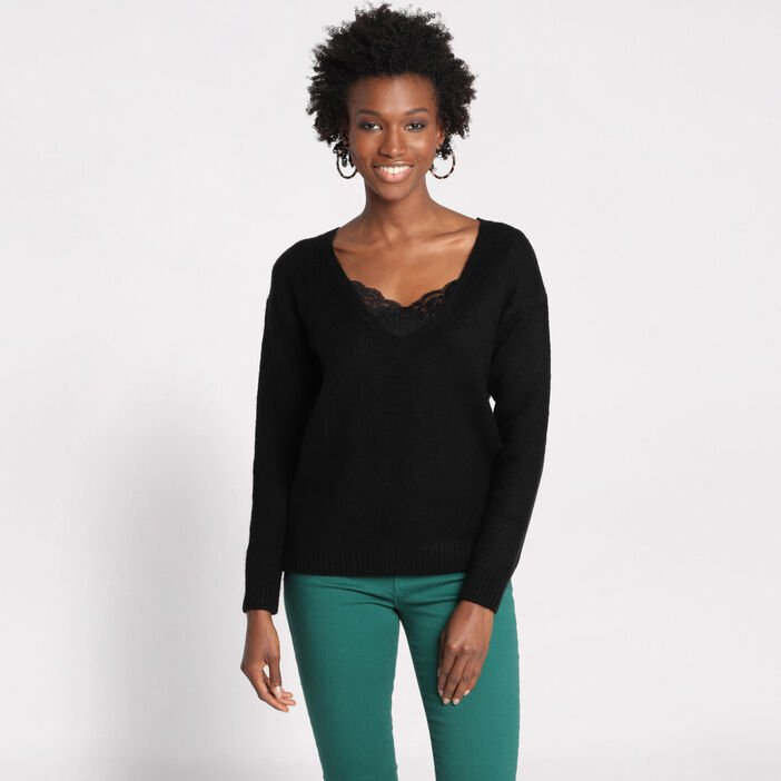 Pull manches longues dentelle  femme