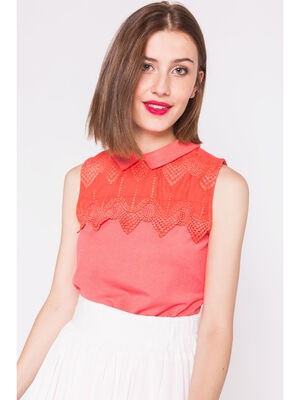 Top sans manches detail broderie orange corail femme