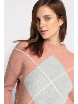 Pull col montant rose clair femme