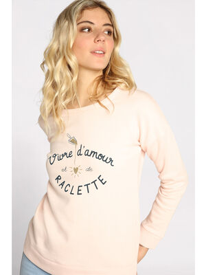 Sweat manches longues rouge clair femme