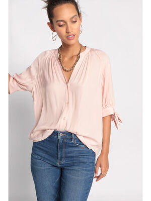 Chemise manches 34 nouees rose clair femme