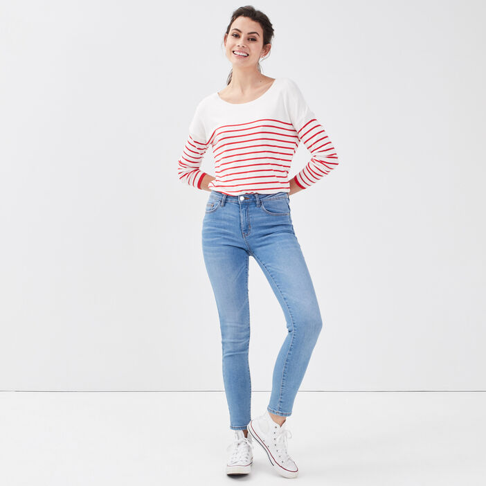 Pull col rond dos ouvert rouge fluo femme