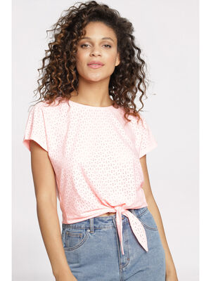 T shirt manches courtes rose fluo femme